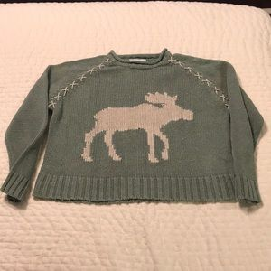 Women's Green Moose Sweater. Small Petite.